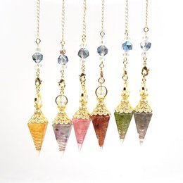 wholesale red jewelry link chains Canada - 5 Pcs Many Colors Resin Pyramid Pendant Gold Plated Quartz Stone Link Chain Buddha Meditation Jewelry