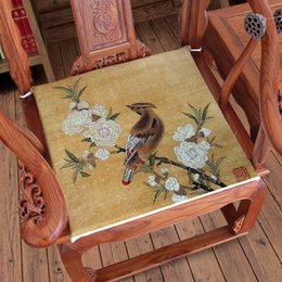green office chairs NZ - Vintage Flower Birds Horse Crane Sofa Chair Seat Cushion Chinese Dining Chair Armchair Seat Pad Linen Home Office Cushions Seats