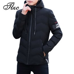 winter jersey wholesale 2019 - TLZC New Solid Man's Hooded Coat and Jacket Outwear Plus Size M-8XL Winter Jacket Men Thicken Warm Parkas Jaqueta M