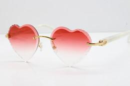 454b13cfbd Venta al por mayor caliente forma de corazón lente tallada gafas de sol sin  montura óptica de la vendimia 3524012 metal mármol blanco azteca armas sin  ...