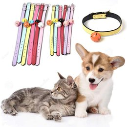 Discount soft leather dog collars - Puppy Dogs Necklace Pet Collars Bells Soft Leather Pet Dog Adjustable Collar With Bell 4 Size Fashion Leather Dog Cat Co
