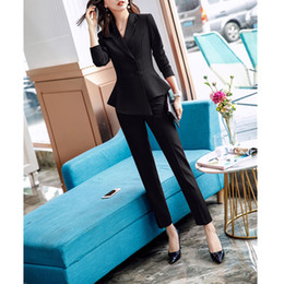 $enCountryForm.capitalKeyWord NZ - Double Breasted Blazer and Trouser OL Style 2 Suit Set Women Slim Fit Pants Suits Office Suits for Women Work Pantsuit Big Size