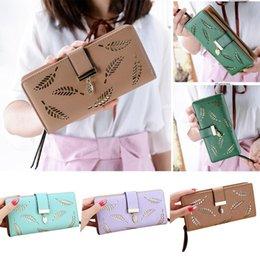 Hollow Fiber Australia - Women Fashion PU Zipper Buckle Long Purse Card Holder Hollowed Leaves Shape Wallet