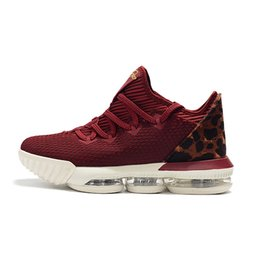 87423774c9bb Cheap mens lebron 16 low basketball shoes for sale Red Leopard Black Gold  Tan Bred youth kids new lebrons sneakers tennis with box Size 7 12