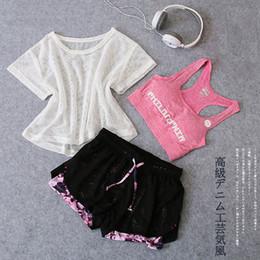 Discount dark grey yoga pants - 3 Piece Yoga Set Women Fitness Sport Suit Gym Cloth Mesh Shirt Top+Bra+Shorts Female Workout Sets Athletic Running Sport