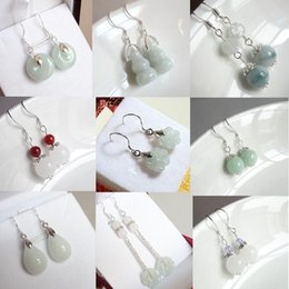 Hand carving jade online shopping - Natural Emerald bead Jade DIY Earrings Charm Jewellery Fashion Accessories Hand Carved Man ahd woman Luck Amulet Gifts