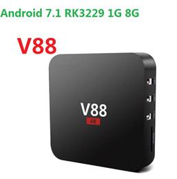 Android Tv Box Full Loaded UK - V88 TV box Android 7.1 RK3229 1G 8G 4K x 2K 60fps 10bit H.265 17.5 iptv WiFi Loaded better than X96 Mini Set Top Boxes
