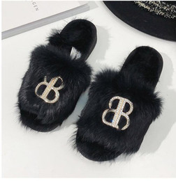 46cfd50dea42 147GHJYU Real hair slippers Women Slippers Flat Plush Shoes Ladies Flip  Flops Casual Fluffy Faux Fur Plush Slippers Shoes