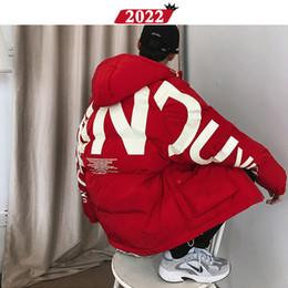 Wholesale korean parka men resale online – Men Streetwear Oversized Bubble Jacket Parka Mens Letter Print Hip Hop Fashions Windbreaker Womens Korean Coats