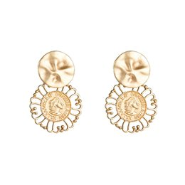 Discount metal s925 - S925 silver needle French engraving head woman earrings Europe and America retro exaggerated metal hollow earrings