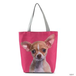 $enCountryForm.capitalKeyWord Australia - good quality 3d Animal Printed Shoulder Bag Women Canvas Tote Handbag For Teenage Girls Cute Dog Summer Beach Bag Lady