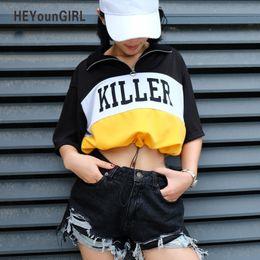 Korean Woman Crop T Shirt Australia - Heyoungirl Korean Harajuku T-shirt Women Summer Casual Crop Tops Tees Turn-down Collar Half Sleeve Printed Tshirt Punk Style Top Y190501301