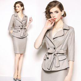 $enCountryForm.capitalKeyWord Australia - Business casual suit female 2019 summer new fashion slim temperament suit jacket with belt professional skirt two-piece