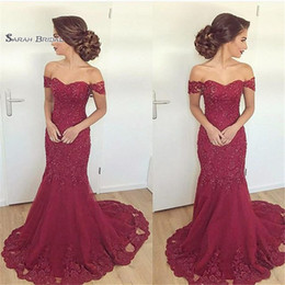 Off shOulder evening dress stOck online shopping - 2019 Mermaid Off Shoulder Appliques Sweep Train Evening Wear In Stock Hot Sales High end Occasion Dress