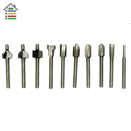 Discount rotary tool drill bits - drill bit AUTOTOOLHOME 10pcs 1 8 3mm Shank HSS Router drill Bits Wood Cutter Milling for Dremel Rotary Tool Set fit meta