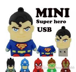 $enCountryForm.capitalKeyWord NZ - New Cartoon pendrive u disk America Captain Superman Spiderman Batman pen drive Super hero 2GB 4GB 8GB 16GB USB Flash Drive