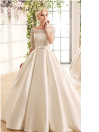 Satin Wedding Dresses Small Australia - Fast Classic Ivory White Upper Body Satin and Lace Shoulder-wrapped Five-minute Sleeve Dress Satin Loin Satin Bow-knot Small Tail Wedding Ga