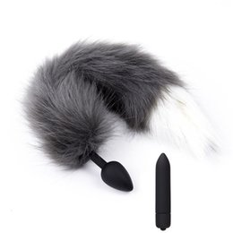 Silicone Toys Australia - Erotic Toys 10 Speed Vibrator Silicone Anal Plug Fox Tail Cosplay Sex Toys For Man Woman Vibrating Bullet Butt Plug Sex Products