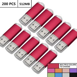 Flash Memory Thumb Drive Australia - Red Bulk 200PCS 512MB USB 2.0 Flash Drive Rectangle Thumb Pen Drives Flash Memory Stick Storage for Computer Laptop Tablet Macbook U Disk