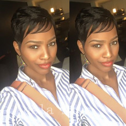 Women Hair Cut Styles Australia - New style fluffy Pixie cut wigs for black women short hair human hair wig suitable for all kinds of people