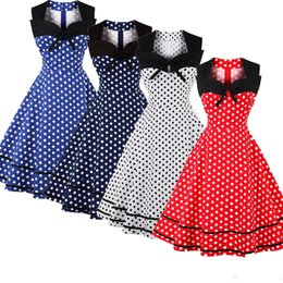 2018 Party Dot Printed Vintage Dresses 1950s Woman Dresses Sleeveless 4XL Plus Size Robe Retro Rockabilly Dresses FS2704