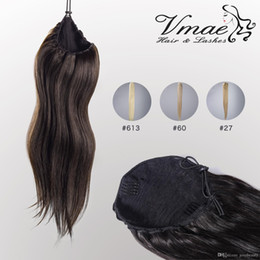 human hair straight drawstring ponytail Australia - VMAE Human Straight Ponytail Hair 100g Natural Non Remy Hair horsetail tight hole Clip In Drawstring Ponytails Hair Extensions