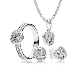 Love Rings Sale Australia - 100% 925 Sterling Silver SALE - Sparkling Love Knot Gift Set Charms Rings Fit DIY Original Jewelry A set of prices