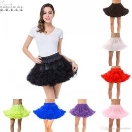 White Short Petticoat Australia - Black White Red Pink Women Short Petticoats Tulle Underskirt Short Tutu Skirt for Wedding Dress Crinoline Skirt CPA296