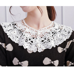 cotton embroidered lace NZ - round neckwear doll collars fake shirt collar women cotton lace retro elegant accessory Openwork embroidered pearl collar