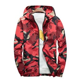 Discount men s leisure thin jackets - 2019 Mens Thin Section Fashion Leisure Camouflage Hooded Printing Jacket Male Outdoor Sports Sun Protection Slim Fit Jac