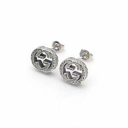 luxe sieraden mannen stud g letters ontwerper oorbellen roestvrij staal zilveren bloem elagante vrouwen stud oorbellen mode-stijl