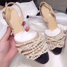 $enCountryForm.capitalKeyWord Australia - Summer Ladies Sandals String Bead Comfortable Chunky Shoes Pointed Toe Ankle Strap Pumps Elegant Party Dress Heels