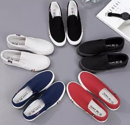 $enCountryForm.capitalKeyWord Australia - Long Spring Canvas White Shoes Korean Flat Casual Shoes Couples Extra Large Lazy Shoes
