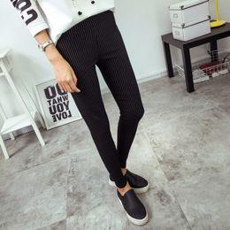 $enCountryForm.capitalKeyWord Canada - Bivigaos New Womens Vertical Stripes Slim Pencil Pants Skinny High Waist Pants Elastic Woven Leggings Trousers Women Black White