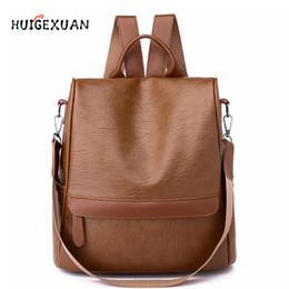 $enCountryForm.capitalKeyWord NZ - Waterproof Pu Leather New Backpack Women Wide Strap Shoulder Bag Leather Backpacks For Teenage Girls Female School Bags Backpack Y19052202