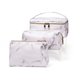 piece cosmetic bag set Australia - 3 Piece Set Cosmetic Bag Portable Travel PU Waterproof Multifunction Storage Bag With Gold Zipper 4pcs Marble Wash Bag For Women B0501