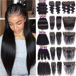 Discount 13x4 lace frontal malaysian - 9A Malaysian Virgin Hair Bundles With Lace Closure Body Deep Loose Human Hair Bundles With 13x4 Lace Frontal Cheap Human
