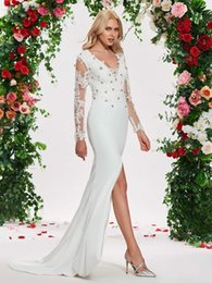 Chinese  Sexy Splits Wedding Dress 2019 Mermaid V neck Long Sleeves Applique Lace Crystal Beaded Unique Wedding Gowns Backless Chiffon New manufacturers
