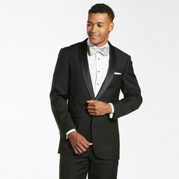 White Suits For Men Black Pants Australia - Satin Shawl Lapel Groom Tuxedos Black Men Suits for Wedding Man Suits 2Piece Coat Pants Cotume Homme Slim Fit Terno Masculino Evening Party