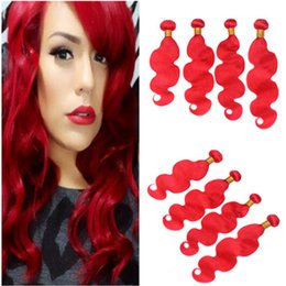 $enCountryForm.capitalKeyWord Australia - Red Colored Peruvian Virgin Human Hair Bundles Deals 4Pcs 400Gram Body Wave Bright Red Human Hair Weave Extensions Double Wefted 10-30
