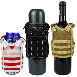 cover crystal set UK - Adjustable Tactical Beer Cover Military Mini Miniature Molle Vest Personal Bottle Drink Set Shoulder Straps C19041501