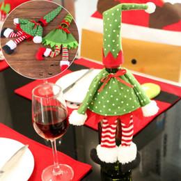 2020 Eğlence Noeller Kırmızı Şarap Şişe Kapağı Çanta Noel Baba Noel Dekorasyon Nokta Çizgili Noel yemeği partisi Tablo Dekor