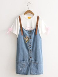 Wholesale Embroidered cat multi button loose hole loose denim shorts