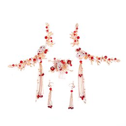 China Classic Red Rhinestone Hair Comb Hairpin Tassel Earring Set Chinese Style Bride Tiaras Headpiece Hair Accessories Jewelry Set JL supplier chinese bride hair suppliers