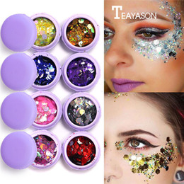 body glitter color NZ - Macaron Metal Eye Shadow Laser Sequins Flash Glitter 3D Eye Makeup Party Body Face Make Up Palette