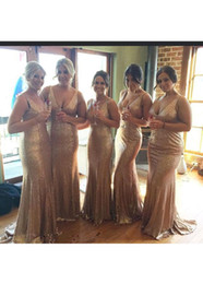 $enCountryForm.capitalKeyWord Australia - 2019 Wedding Event Gold Sequin Mermaid Bridesmaid Dresses With Deep V-Neck Zipper Back Long Bridesmaids Dresses Cheap Wedding Guest Dress