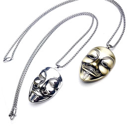 7655d87538 2019 new Silver smiley face mask necklace pendant for man Rock punk street  hip hop style jewelry for couple
