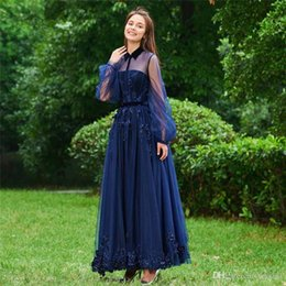 Blue Hollow NZ - Elegant Blue Lace A Line Prom Dresses Custom Hollow Floor Length Evening Dresses Custom Long Sleeves Party Gowns