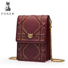 $enCountryForm.capitalKeyWord NZ - FOXER Brand Cowhide Leather Bags For Women Rivet Phone Girls Bag Vintage Shoulder Bag Female Crossbody Bags For Women 2018 NEW #187384