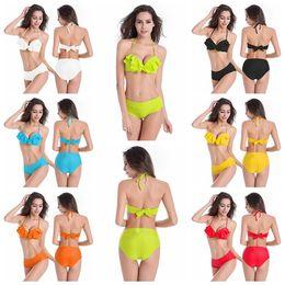 $enCountryForm.capitalKeyWord Canada - 2019 Ruffle Bikini Summer Women Solid Bikini Set Push-up Padded Bra Swimsuit Swimwear Triangle Bather Suit Swimming Suit Biquini J190330